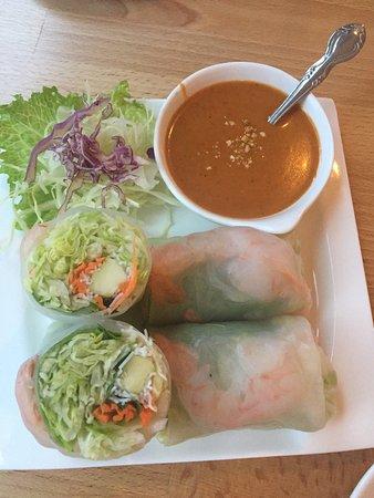 Wokking shrimp, tom yom soup and spring rolls