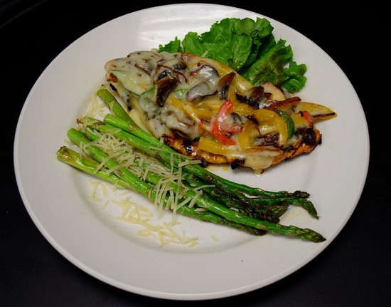 Seymour, IN: Our filling Monterey Chicken entree with a side of asparagus!