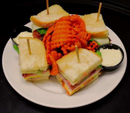 Seymour, IN: Our most popular sandwich - our Rails Club with a side of sweet potato fries!