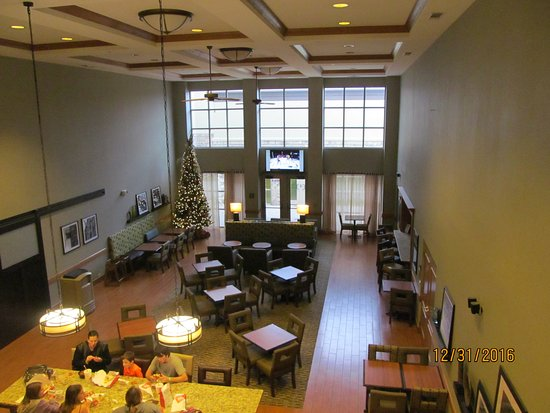 Aurora, IL: View of the breakfast area from the second floor above.