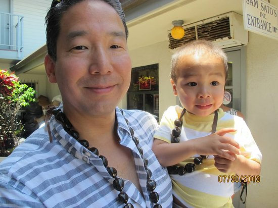 Sam Sato's Incorporated: My husband and my son outside of Sam Sato's