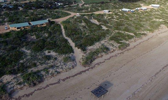 Ceduna, Australia: Arial view of Villas and Eco Shacks along the beach