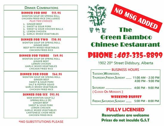 Didsbury, Canada: menu