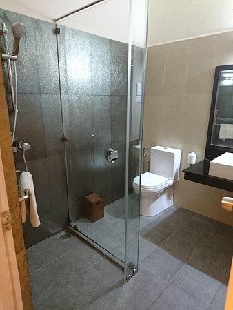 Hotel Sigiriya: ガラス張りのシャワー室。水は流れ出てきます(笑)