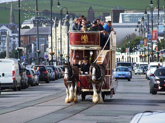 Douglas, UK: Double deck tram in use