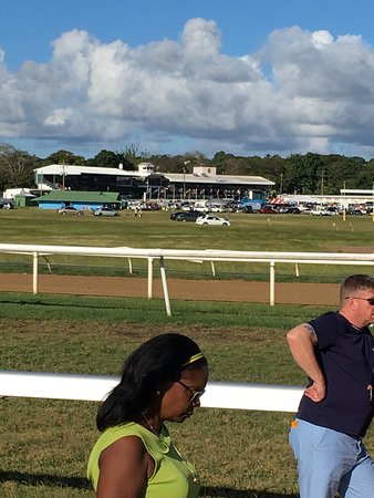Barbados Turf Club: Had a great day at the races free outside the grandstand betting booths outside too Race is run