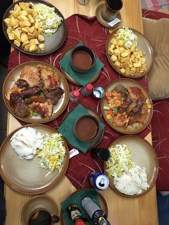 Stara Lesna, Slowakije: 2 mix grill (pork, beef, chicken, sausage, ham, steamed vegetables)with sauce, rice/potato and s
