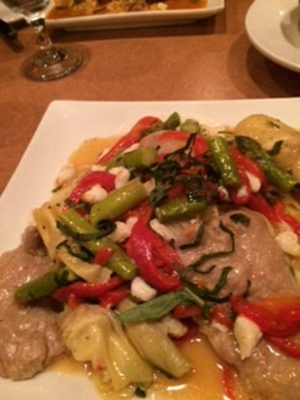 Limerick, PA: Veal with roasted peppers, artichoke hearts, shrimp over angel hair pasta