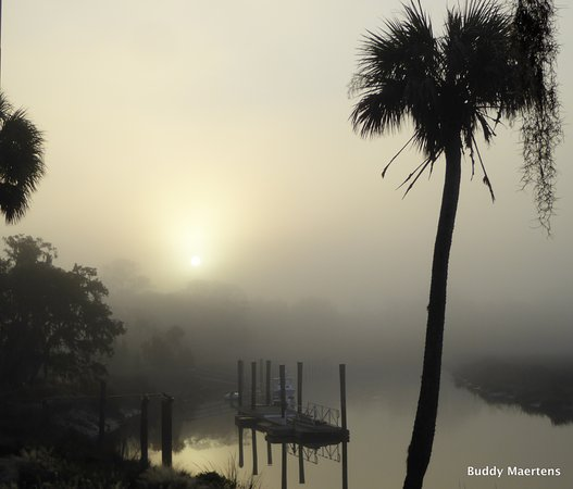 The Lodge on Little St. Simons Island: A beautiful view along Mosquito Creek in an early morning fog.