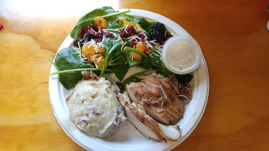 The Brown Bag: Grilled chicken, baby spinach salad and red mashed potatoes
