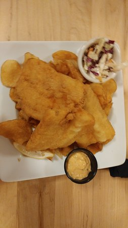 Superior, WI: This is the fish, very large pieces on top of homemade potato chips.