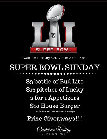 Duncan, Καναδάς: Spend the Super Bowl LI at CV Station Pub!!! FOOD & BEER specials this February 5 from 2 pm - 7