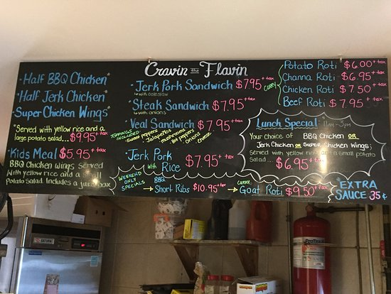 Cravin the Flavin Menu - Barrie ON