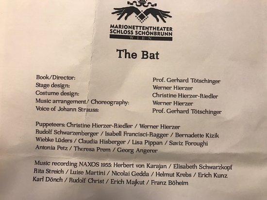 Marionetten Theater Schloss Schoenbrunn : 'THe Bat'programme