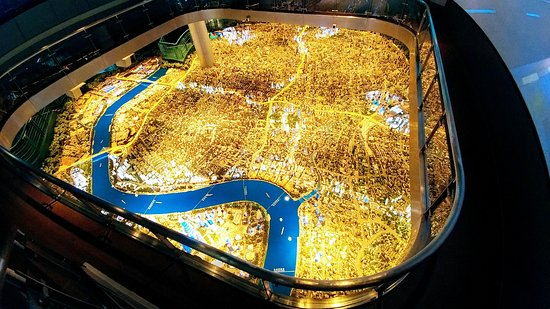 Shanghai Urban Planning Exhibition Hall: Large scale model of city....