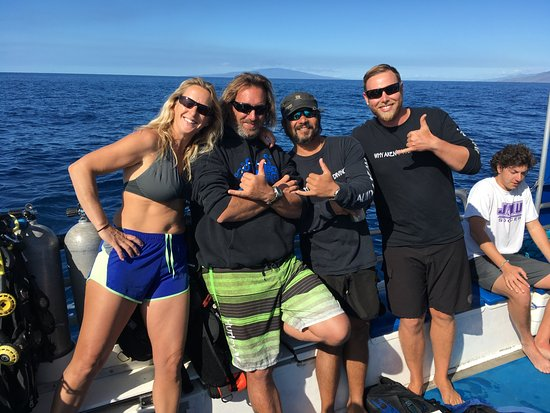 Prodiver Maui: This is the ProDiver staff on our first dive: Poki, Scott, Captain Keone and skipper Brian