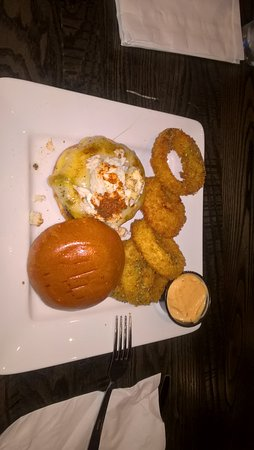 Timonium, MD: Crab burger with onion rings