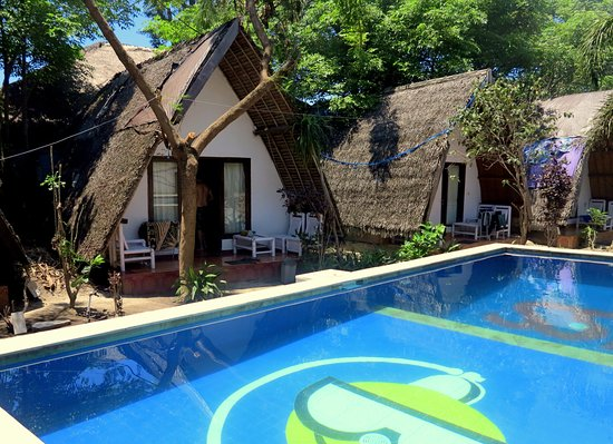 Aquaddiction Bungalows: Bungalows and pool