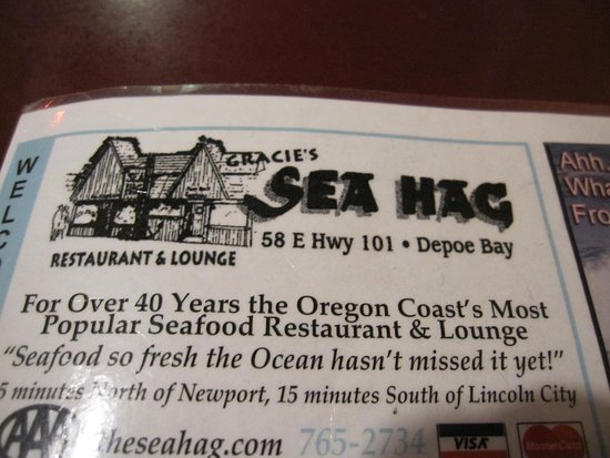 Depoe Bay, OR: Information in a flyer at the table