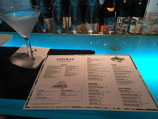 OPAH Restaurant & Bar: OPAH:  New MENU as of 1/6/2016, new food items and new Signature Drinks