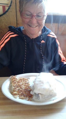 Alpine, TX: Ein Frühstück der extra Klasse, meine Frau strahlt schon
