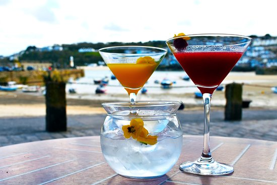 Cocktails and view at The Searoom St Ives
