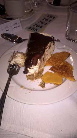 Earls Colne, UK: chocolate cheesecake with honeycomb