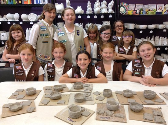 Noblesville, IN: Girl Scouts making clay!