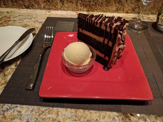 "The Ritz-Carlton Dove Mountain: Dessert at the main restaurant ""Someone's Grandma's Chocolate Cake!"""