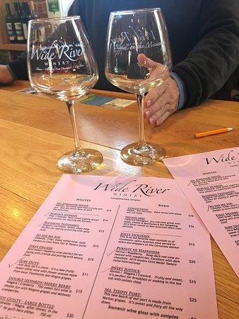 Le Claire, IA: wine list and glass