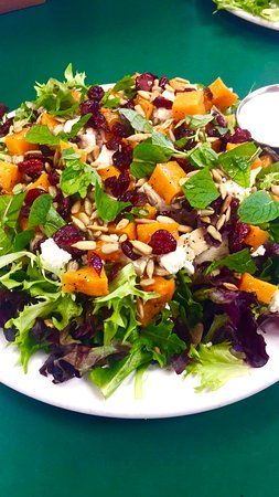 Dish Cafe: Salad Special - Mixed Green Salad with Roasted Butternut Squash, Chicken, Sunflower Seeds, Feta