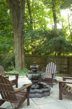 Hudson, NY: The Fountain Patio in our back garden is a great place to read or just relax