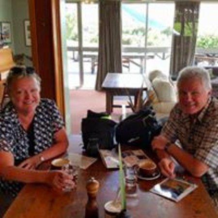 Coffee break at Lake Ohau Loge, supported cycling trip A2O Cycle Trail Lake Ohau to Twizel.