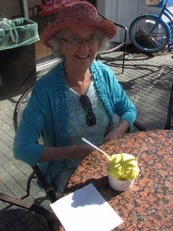 Kilwin's: Lemon meringue ice cream and lemon sorbetto to share. Very delicious!