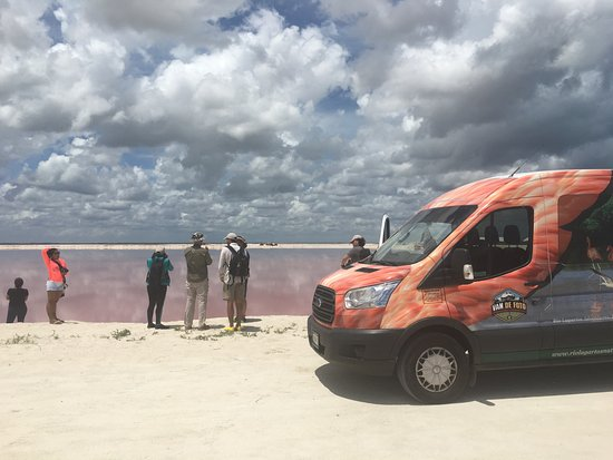 "Rio Lagartos Adventures: landscape las coloradas ""salt pond pink waters"""