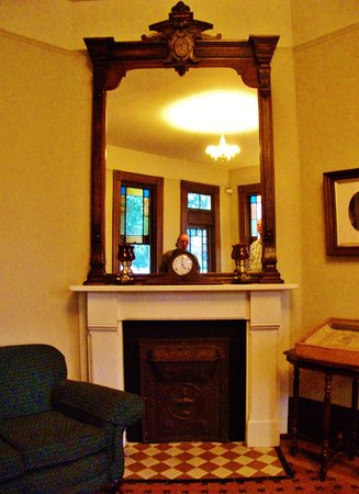 George C. Marshall House: Windows reflected in elegant mirror on mantle piece
