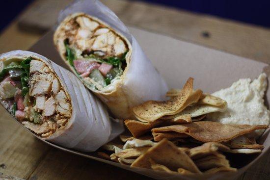 Chicken Shawarma Pita Wrap. Fresh, Baked Pita Chips & House-Made