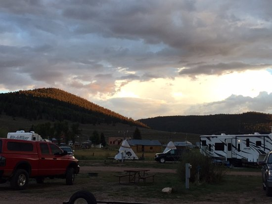 Sargents, CO: West facing sunset and camping with water and Power