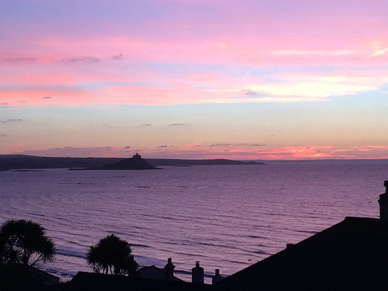 Hotel Penzance: Spectacular sunset over Mount's Bay with St. Michael's Mount in the distance.
