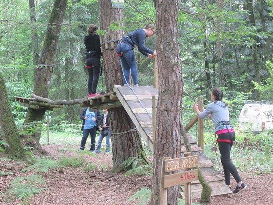 Sille-le-Guillaume, Francia: Les Tyroliennes de la Forêt; départ du parcours vert