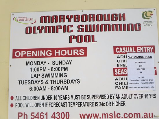 Maryborough Outdoor Swimming Pool: Pool opening hours