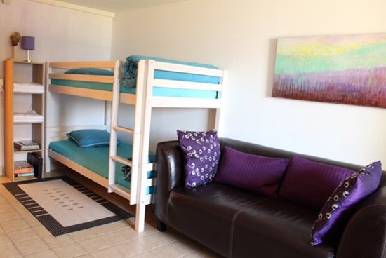 Vex, Swiss: Lavendar room bunk beds and love seat