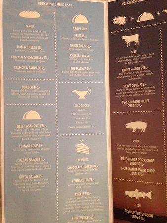 Skt. Petri: Room service menu