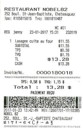 Chateauguay, Canada:  $13.28 servi par Jenny le 23 janvier 2017