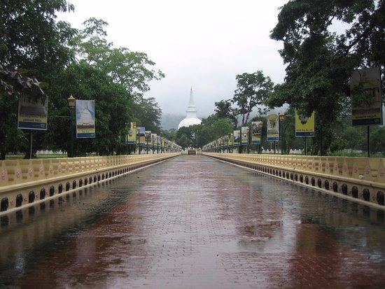 Mahiyangana Temple: Approach Walkway in the Rain
