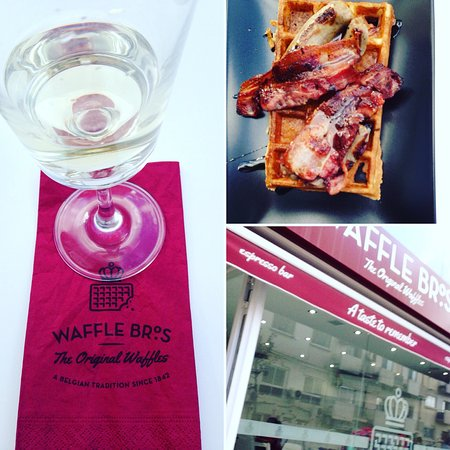 Ta' Xbiex, Malta: Casillero Del Diablo wine, build your own waffle with bacon, sausage and maple syrup