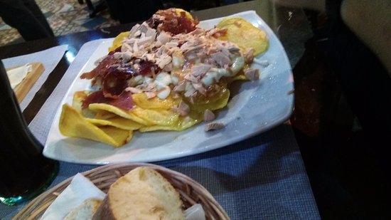 Province of Zaragoza, Spain: huevos rotos con jamon y foie