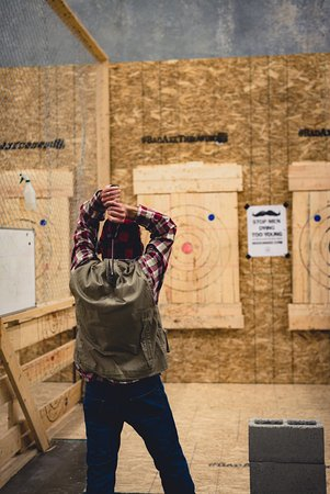 Surrey, Canada: The perfect axe throwing outfit!