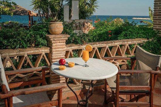 "Ammoudi, Greece: Beach front veranda of ""Calypso"" beach front villa"