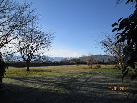 Maison Castagnet: Le verger devant la chambre. Au loin, les Pyrénées.